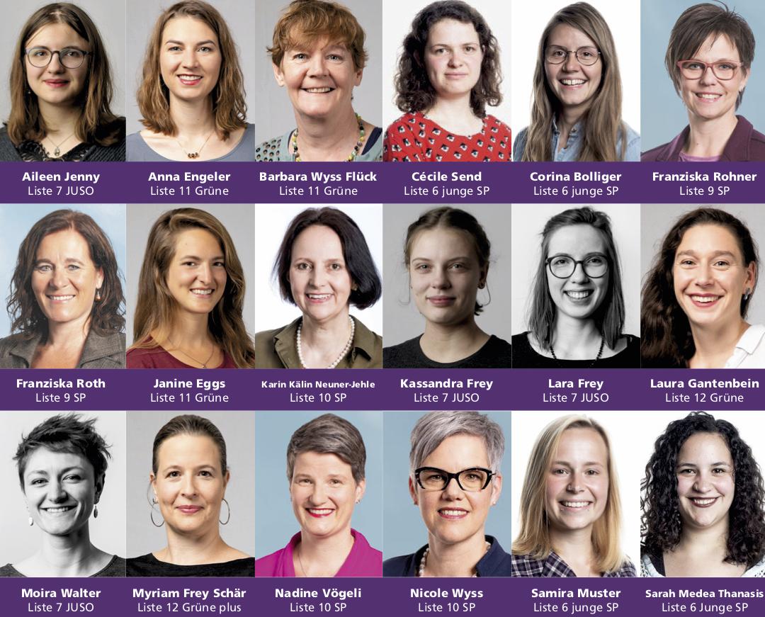Kandidatinnen für die Nationalratswahlen 2019, welche die Forderungen des Frauen*streiks zu 100% unterstützen